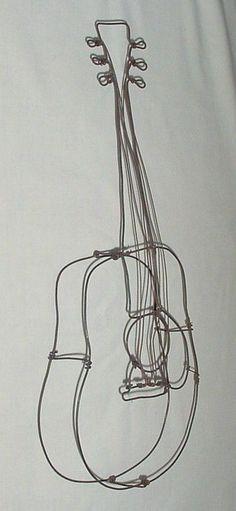 Very Cool Vintage Folk Art Wire Metal Guitar Sculpture Wall Hanger