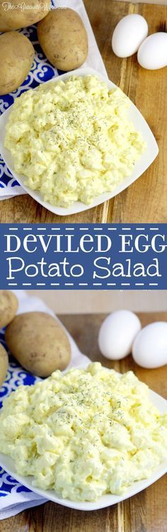 Deviled Egg Potato Salad Recipe - Easy potato salad side dish recipe inspired by devil eggs. Perfect for BBQ, picnics, and cookouts.