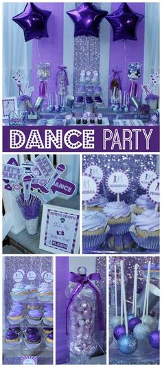 A purple dance party for a twelve year old girl with disco balls, sparkly cake pops and a dessert table!