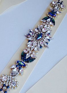 KNR Handmade Crystal Emerald Green Jewel Sash - Vintage Wedding - One of a Kind Hand Stitched