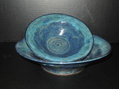 My signature glaze combination -- Amaco Blue Midnight covered by Ancient Jasper and edged with Indigo Float.