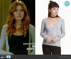 Clary's grey zip-front cardigan on Shadowhunters. Outfit Details: https://wornontv.net/65912/ #Shadowhunters