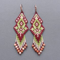 Схема сережек - кирпичное плетение / brick stitch / peyote earrings pattern