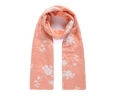 Coral/white embroidered floral scarf