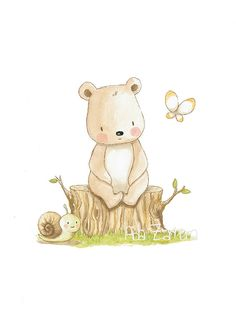 Childrens Art TEDDY BEAR Archival Print, Nursery Illustration.  In the forest I can make lots of friends!  Its a reproduction of my original illustration printed with detailed on special watercolor paper 300 g. honed natural white, acid-free and 100% cellulose, gives appearance of original painting Watermark will not appear on purchased print. VERTICAL printing.  All print is hand signed by me.  Prints comes packaged in a protective cello sleeve and shipped in a resistant mailing tube.  Each…