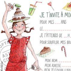 8 cartes d'invitation illustrée pour un anniversaire de fille avec enveloppes.