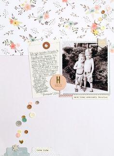 Hello by MeganLiane at Scrapbook Journal, Baby Scrapbook, Scrapbook Cards, Scrapbook Examples, Scrapbook Sketches, Heritage Scrapbooking, Scrapbooking Layouts, Bridal Shower Scrapbook, Paper Art