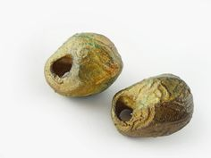 Artisan Ceramic Porcelain Beads hoops Bone by greybirdstudio, £24.00