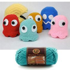 Packman crochet from lion brand yarn ~ These would be cute for Halloween too!