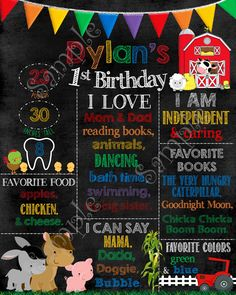 Farm Chalkboard Birthday Sign, Farm Birthday Sign/Poster | PapelPintadoDesigns - on ArtFire
