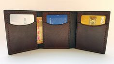 Mens trifold card wallet-Dark brown by LabrysLeatherworks on Etsy Card Wallet, Dark Brown, Unique Jewelry, Handmade Gifts, Cards, Leather, Men, Etsy, Vintage
