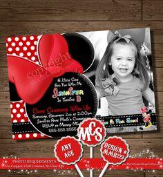 CUSTOM INVITATION, CLUBHOUSE, Chevron, Yellow, Minnie Mouse Birthday, Minnie Mouse, My Celebration Shoppe, Minnie Mouse, Invitation, Photo on Etsy, $15.00