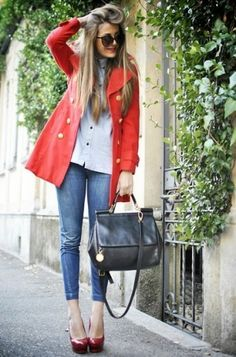 It can be so simple and yet so stunning - white button down, skinnies and classic red trench coat! by becky