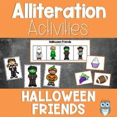 Set includes a variety of fun and engaging alliteration activities and games to use with your preschooler, prek and kindergarten students. Phonological awareness activities are perfect circle time activities or small group lessons. Grab this easy to prep alliteration activity set of early literacy Halloween themed printables. Used along with Halloween activities and fall activities. Makes a great addition to a Halloween theme or fall theme.