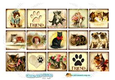 Instant Download  Digital sheet  CATS and DOGS  2x2 por JLeeloo, $3.60