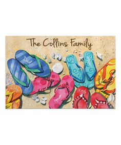 Personalized Planet Flip-Flops Personalized Doormat - Family of 6 | zulily