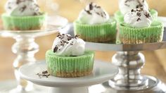Mini Grasshopper Cheesecakes             Mini Grasshopper Cheesecakes