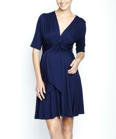 Take a look at this Navy Tie-Front Maternity A-Line Dress by Maternal America on #zulily today!