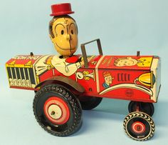 ANTIQUE 1941 MARX DAGWOOD THE DRIVER TIN MECHANICAL WIND UP TOY CAR | Toys of Times Past