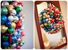 wreath made from vintage christmas ornaments.  from pink attic cat in old littleton.  love it in my dining room!