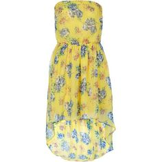 Yellow Floral Bandeau Dip Hem Dress (37 RON) ❤ liked on Polyvore featuring dresses, belle, flowers, short dresses, flower print dress, floral dresses, high low dresses and short cocktail dresses
