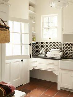 Tim Barber - laundry/mud rooms - white, cabinets, glossy, black, tops, farmhouse, sink, terracotta tiles, floor, black, white, tiles, backsplash, contemporary backsplash tiles, backsplash tiles, contemporary tile kitchen,