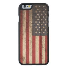 American Flag on Old Wood Grain Carved® Maple iPhone 6 Case