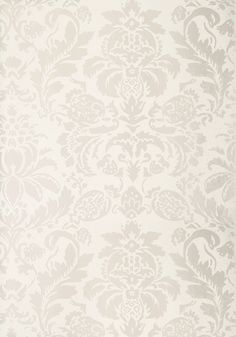 LYNDON DAMASK, Pearl on White, T10028, Collection Neutral Resource from Thibaut