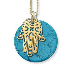 Glucky : European Style Fashion 18K Gold Plated Hand Of Fatima With Round Turquoise Necklace TMS-MNE003 by Glucky -- Awesome products selected by Anna Churchill