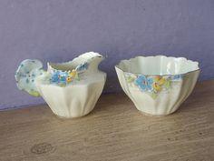 Creamer & Sugar Basin, Royal Paragon, England, Hand painted bone china, 1930's