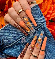 Brown Acrylic Nails, Bling Acrylic Nails, Halloween Acrylic Nails, Best Acrylic Nails, Bling Nails, Halloween Nail Designs, Swag Nails, Dope Nail Designs, Cute Acrylic Nail Designs