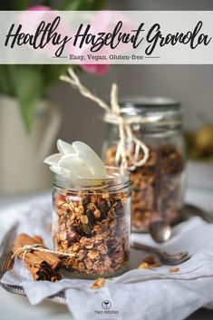 This healthy hazenut granola is a delicious blend of nuts and seeds, spices and agave to sweeten. Best Vegan Snacks, Vegan Breakfast Recipes, Brunch Recipes, Snack Recipes, Vegan Food, Breakfast Ideas, Free Breakfast, Vegan Meals, Healthy Snacks