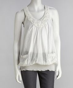 Take a look at this White Rosette Racerback Yoke Top by Simply Irresistible on #zulily today! $17