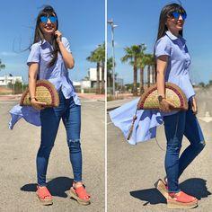 Blusa de cola - Temporada: Primavera-Verano - Tags: blogger, fashion, moda, streetstyle, inspo - Descripción: Look denim con complementos estrella de verano #FashionOlé