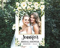 Personalized Bridal Shower Photo Booth Frame, Greenery Boho White Floral Gold Foil, Photo Prop Frame, 24x36, A1, Printable File, B72