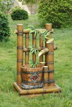 44 Comfy Bamboo Garden Décor Ideas - Garden decorations are actually the outside image of your house from the inside, when you look the house and the outdoor decorations are beautiful it . Bamboo Planter, Bamboo Art, Bamboo Crafts, Bamboo Water Fountain, Bamboo Landscape, Landscape Design, Ponds For Small Gardens, Bamboo Structure, Bamboo Architecture