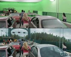 Side by side comparison of pre and post CGI effects using a green screen. #gif