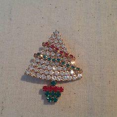 Eisenberg Ice Christmas Tree Rhinestone Pin with Dangling Garland