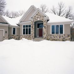 Is your home prepared for the winter weather? This Splitface stone can help your home standout in the winter months! #winter #stonewall #homeremodel Winter Months, Home Remodeling, Interior And Exterior, Weather, Cabin, Stone, House Styles, Outdoor, Ideas