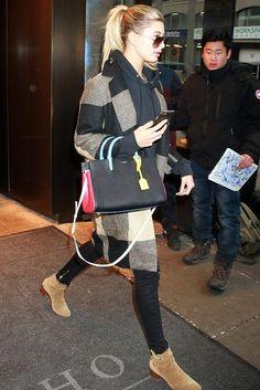 Hailey Baldwin wearing  Zara Coat with Lapel, Saint Laurent Small Rive Gauche Colorblock Satchel, Saint Laurent Blake Jodpur Boots in Sigaro