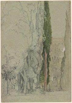 Samuel Palmer (1805-1881) - Villa d'Este at Tivoli from the Cypress Avenue