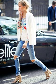top it off with glitter heels. Ripped skinny jeans and a white top with a cute design plus a white jacket and I got to love those sweet heels