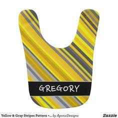 Yellow & Gray Stripes Pattern + Custom Name Gray Stripes, Baby Bibs, Yellow, Grey, Pattern, Clothes, Color, Design, Amp