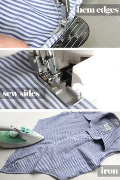 Make a men's shirt into a cute cropped tie top  This is awfully cute...