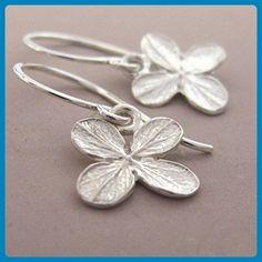 Sterling Silver Flower Earrings - Tiny Bright Hydrangea - Wedding earings (*Amazon Partner-Link)
