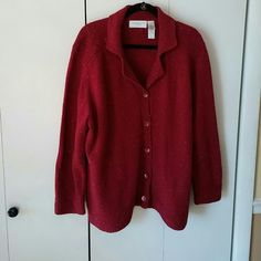 "Red cardigan by Liz Clayborne Like new red sweater 21"" shoulder to shoulder 28"" shoulder to hem Such a sweet piece Liz Claiborne Sweaters Cardigans"