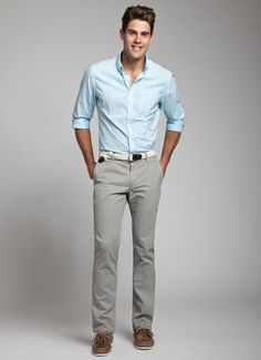 A slate grey trouser also works with more colorful summer shirts.  Again, separated by a white belt