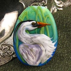 Heron Focal Bead by Kerri Fuhr - Fine Handcrafted Glass Lampwork Beads