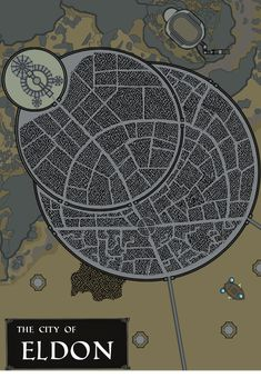 The Great City of Eldon, capitol of the Amandian Empire! Artistic inspiration from Critical Role (see airship easter egg) & Skyrim. Dungens And Dragons, Fantasy City Map, Fantasy Words, Rpg Map, City Layout, Akira, Dungeon Maps, Dungeons And Dragons Homebrew, City Maps