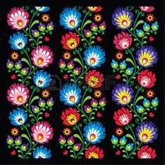 Seamless patr�n largo arte popular polaco - Lowickie wzory, wycinanka photo
